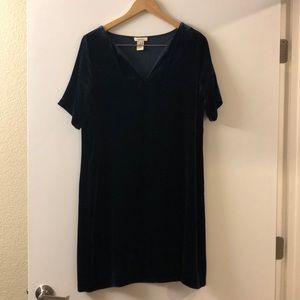 Midnight Blue Velvet Shift Dress